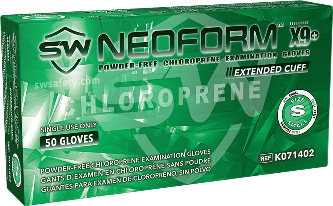 NeoForm X9+ Chloroprene Powder-Free Exam Gloves, $22.90 per 100 gloves, 10 boxes of 50 per case