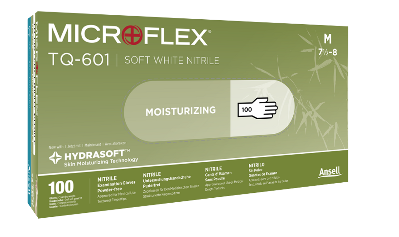 Box of  MICROFLEX SOFT WHITE NITRILE Exam Glove with Hydrasoft
