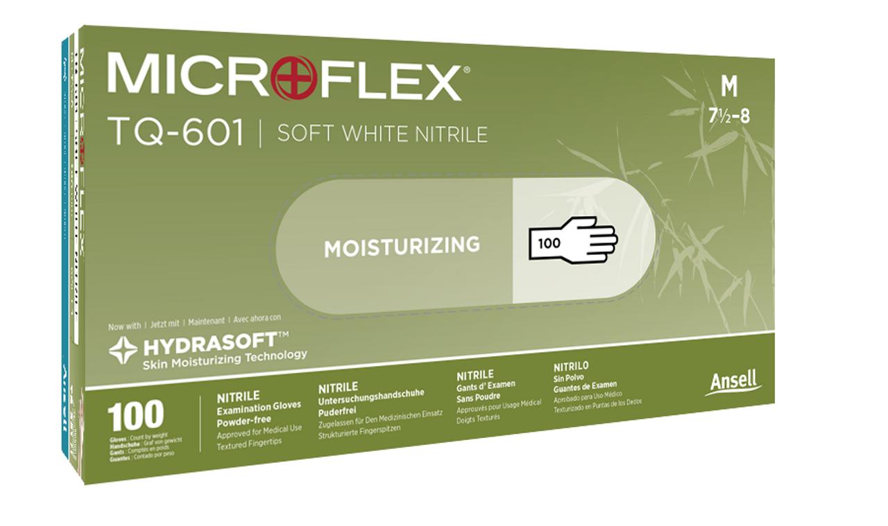 Box of  MICROFLEX SOFT WHITE NITRILE Exam Glove with Hydrasoft