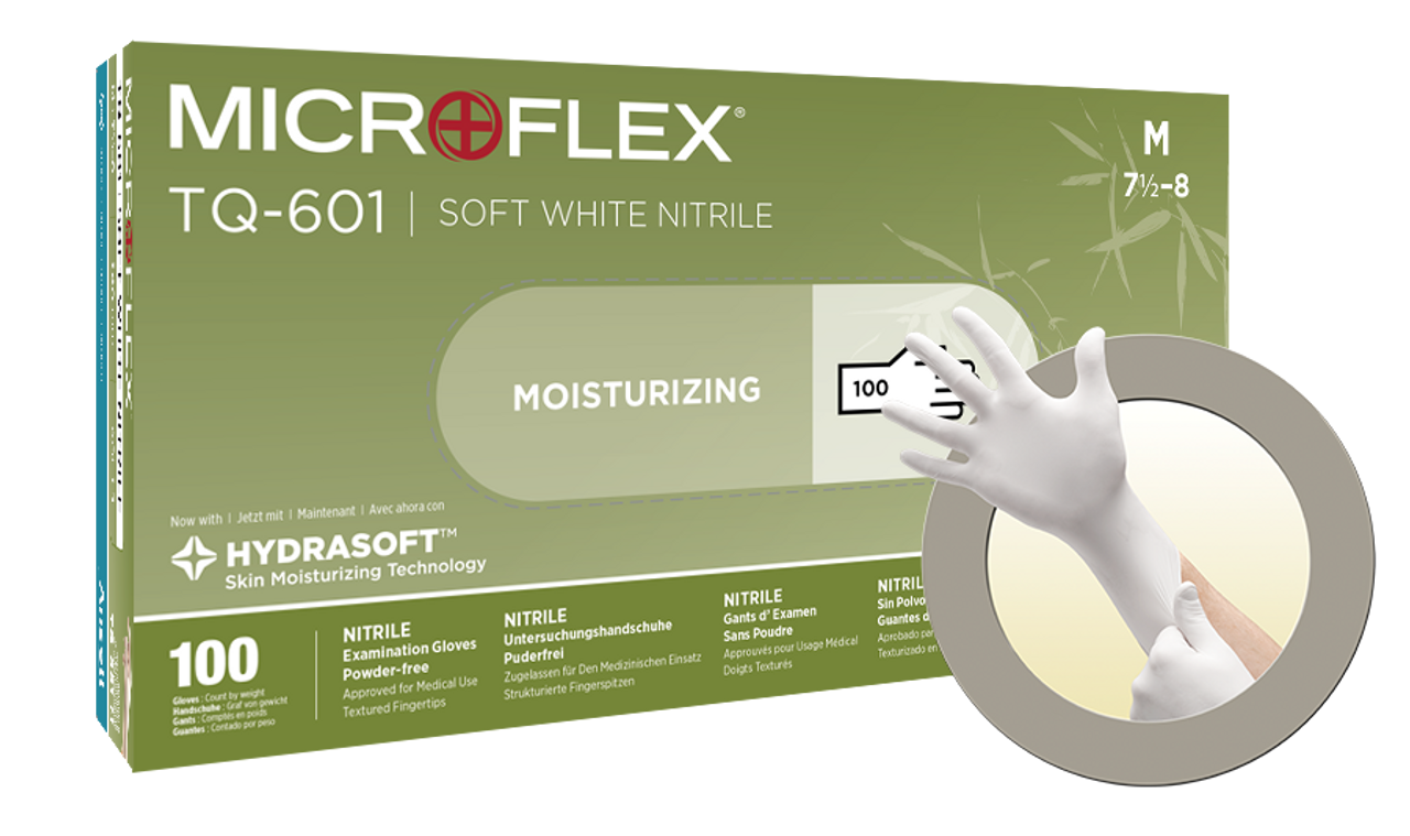 MICROFLEX SOFT WHITE NITRILE Exam Glove with Hydrasoft  from Ansell