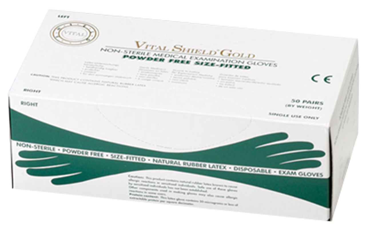 Vital Shield Gold PF Latex Gloves - Right/Left Fitted, $12.97 per 100 gloves, 20 boxes of 100 per case