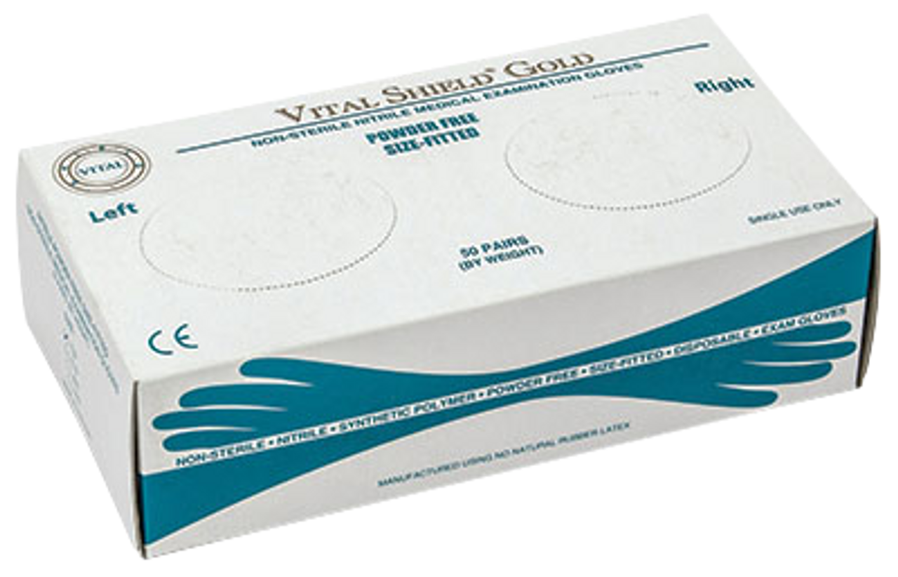 Vital Shield Gold PF Nitrile Right/Left Fitted, $12.97 per 100 gloves, 10 boxes of 100 per case