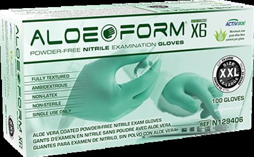 AloeForm X6 Powder-Free Nitrile Exam Glove, $11.45 per 100 gloves, 10 boxes of 100 per case