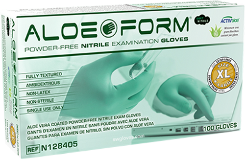 AloeForm Soft Powder-Free Nitrile Exam Glove, $10.51 per 100 gloves, 10 boxes of 100 per case