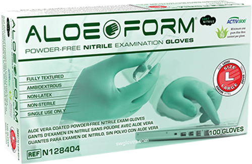AloeForm Soft Powder-Free Nitrile Exam Glove, $10.51 per 100 gloves, 10 boxes of 100 per case