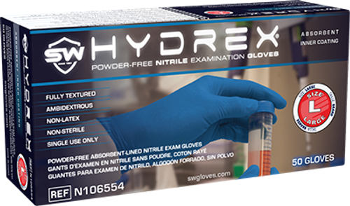 Hydrex Nitrile Powder-Free Exam Gloves, $19.56 per 100 gloves, 10 boxes of 50 per case
