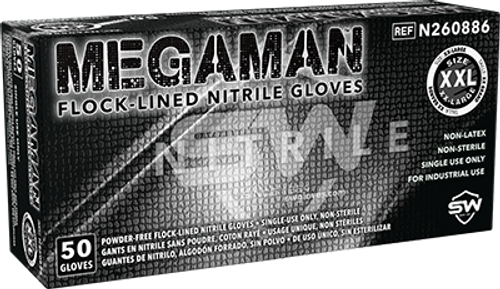 Megaman Absorbent-Lined Nitrile Gloves, $27.98 per 100 gloves, 10 boxes of 50 gloves per case