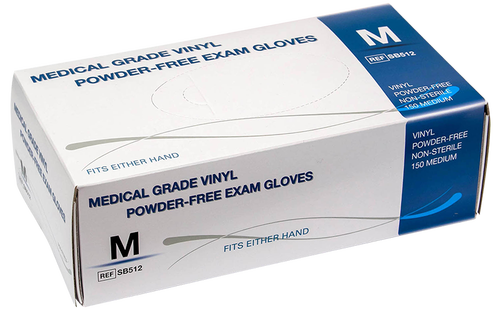 Medline powder free vinyl exam glove box.