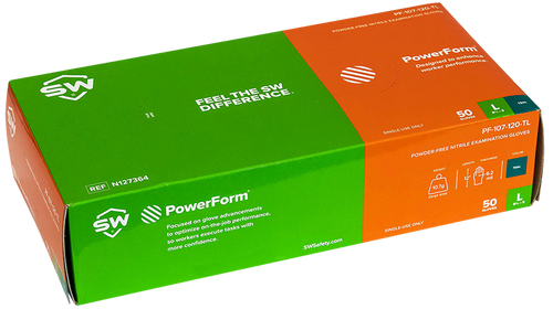 PowerForm Extended cuff nitrile exam glove teal box