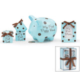 """Baby Boy Keepsake Gift Set A special gift for the new baby.  This adorable ceramic gift set will be cherished for years to come. Inside you'll find a matching set of Hair and Tooth keepsake containers, a small baby photo frame along with a cute piggy bank.  Includes: My First Tooth Keepsake Box,  My First Curl Keepsake Box,  One 4x3 Photo Frame,  and One Piggy Bank.  Keepsake Boxes: 2""""H X 2""""W X 2""""D.  BANK: 5""""H X 4.5""""W X 6.5""""D.  Frame: Holds a 2.5"""" X 3.5""""  Photo. 4""""H X 3""""W.  All items are hand painted ceramic."""