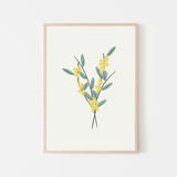 Girl Power Flower Art Print  Australia's national flower, theGolden Wattle, is a beautiful yellow, puffy and sweet smelling flower that symbolizes unity and resilience. Add this to your little girls nursery, bedroom or playroom as a pretty touch with a hidden meaning of girl power.  All art prints are produced on thick durable archival poster paper Frames are a straight cut wood frame with real glass and hanging hardware