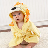 """""""Big Top Bath Time"""" Lion Hooded Spa Robe (Personalization Available)  Let Baby Aspen's cute king of the jungle keep that freshly bathed baby warm and dry in soft, sunny-yellow terrycloth. Look at that adorable lion's face--almost as cute as baby's!     Features and facts:  Sunny-yellow, terry robe and hood with laughing lion's face topped with terry lion's ears and orange and white-grosgrain ribbon mane, and attached terry robe tie Machine-washable terrycloth Size 0-9 months"""