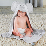 """Little Peanut Elephant Hooded Spa Towel  Make bath time great again by drying your little animal off in this elephant-inspired hooded bath towel complete with soft elephant ears and a little elephant trunk. This adorable elephant bath towel for baby will make baby's splash at the watering hole a fun and exciting adventure. It's a super soft bath towel that pulls double duty!  Features and facts:  Grey terry towel with grey and white striped trim detailing features an elephant hood with 3-D trunk, embroidered dark grey eyes, and striped grey print 3-D elephant ears; bottom of towel features 3-D elephant tail Machine washable 100% cotton terry Hooded towel measures 34"""" w x 40"""" h Size 0-9 months"""