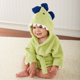 """""""Splash-a-saurus"""" Dinosaur Hooded Spa Robe (Personalization Available)  When dinosaurs roamed the earth, they were nowherenearthis huggable! A new baby is in for some prehistoric pampering after every bath--just tell the new mom and dad you dinosaurit--and knew baby had to have it!  Features and facts:  Jurassic-green, hooded spa robe with embroidered black eyes, black, 3-D dino """"spikes"""", pearly-white terry dino-teeth and attached belt closure Machine-washable terrycloth Personalization available for an additional charge Size 0-9 months  Please note: All personalized items require 5 to 7 business days for processing. If item has personalized tags and stickers, these arrive unattached and require assembly.  Please pick thread color from image attached!"""