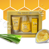 Welcome Home Baby - 3 Piece Gift Set  This 3 Piece gift set is the perfect gift for any new mom. It is also a great starter set for any new Bella B baby!  Three-piece gift set includes full-size containers of:   Squeaky Bee Bodywash and Shampoo   Silk & Honey Baby Daily Moisturizing Lotion  Honey Bum Bottom Balm