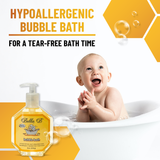 Bubble Bath - 8oz  Bella B Bubble Bath is a refreshing treat for baby and great for mom too!  Wonderful, refreshing fresh scent and free of parabens (artificial preservatives).  Tear free, hypoallergenic formula.  Made with several organic flower extracts including aloe vera, matricaria, marigold, lavender and lemon verbena.  Pour under running water for generous foaming bubbles.