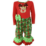 Baby Girls Boutique Red Green Damask Christmas Tree Rudolph Reindeer Romper  AnnLoren Rudolph Reindeer embroidered on chest with Polka dot sleeves and ruffles on legs.  Fabric designed exclusively for AnnLoren.  Snap closures on back of neckline and inseam.  95% Cotton/5% Spandex stretch.  Machine washable.