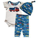 AnnLoren Baby Boys Layette Cars Trucks Onesie Pants Cap 3pc Gift Set Clothing Sizes 3M - 18M