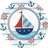 "Nautical Paper Dessert/Cake Plates - 7"""