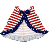 AnnLoren Baby and Big Girls 4th of July Swing Tank Top with Ruffle Trim and Bow