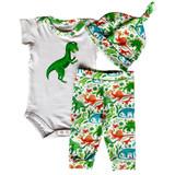 AnnLoren Baby Layette Boys Dinosaur Onesie Pants Cap 3pc Gift Set Clothing Sizes 3M - 18M