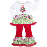 Girls Boutique Polka Dot & Swirl Christmas Tree Clothing Set  Two-Piece Long sleeve Christmas Outfit for this holiday season.  Embellished with an adorable Christmas Tree patch and trimmed with Polka Dots, Swirls, and Red Tulle ruffles.  Set includes coordinating knit cotton Pants and have an elastic waist for a comfortable fit.  Made with 97% Cotton 3% Spandex.