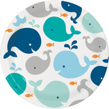 "Lil Spout Blue Whale Paper Lunch/Dinner Plates - 9"""