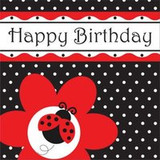 "Ladybug Fancy 3-Ply ""Happy Birthday"" Luncheon Napkins"