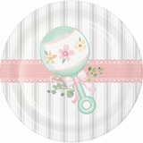 """Country Floral Rattle Baby Shower Dessert Plates - 7"""""""