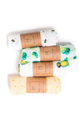 """Organic Cotton Muslin Essential Baby Set  The Organic Muslin EssentialSet includes 4 of our best selling swaddles in artistic watercolor prints. The swaddles come wrapped in signaturetissue paper and luxurious bows. Gift them all to one specialbaby orshare the love!  SWADDLE BUNDLE:  • Made from100% GOTS certified organic cotton muslin  • Versatile; Ideal for snuggle time at home or on the go!  • Size: L47"""" x W47""""  • Wash Care: Machine wash warm; Tumble dry low (do not iron or dry clean)"""