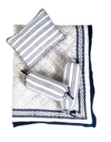 """New Baby Gift Set  • Set of 4 Items: 1 quilt, 1 decorative pillow and 1 bolster set in our favorite prints  • Made from the most luxurious cotton voile and elegantly packaged in our signature muslin bags that are reusable for years to come! Perfect for eco-friendly gifting  • QuiltSize L50"""" x W38""""; Pillow Size: L12"""" x W9""""; Bolster size: W6.5""""x L12""""  • Wash Care: Machine wash cold- Delicate cycle; Hang dry  Hand crafted in India: Due to the handmade nature of this product, variances may occur in color and design, making each piece simply unique"""