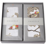 """Are You My Mother? 2-Swaddle Gift Set  Newcastle Classics has partnered with P.D. Eastman to bring to life the timeless 1960 children's book Are You My Mother? This one of a kind gift set includes our special edition Are You My Mother? & Snort Swaddle.  Soft as silk, breathable, pre-washed, muslin swaddle made from our natural bamboo fibers. Use this swaddle as a stroller or nursing cover, changing pad cover, burp cloth, tummy time blanket and more. The breathable fabric helps reduce the risk of overheating while the generous size makes swaddling a breeze.  Size: 47"""" x 47"""" (120cm x 120cm)  Material: 100% Natural Bamboo Muslin"""