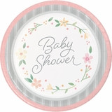 """Country Floral Baby Shower Dinner Plates - 9"""""""