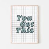 You Got This Art Print | Boys Checkered  You got this little dude! A kid-friendly affirmation for confidence in getting back to school. Our Back to School Confidence Collection features positive prints for both boys and girls, to give them a little confidence boost when getting back to school.  All art prints are produced on thick durable archival poster paper Frames are a straight cut wood frame with real glass and hanging hardware