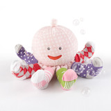 """""""Mrs. Sock T. Pus"""" Plush Plus Octopus with 4 Pairs of Socks (Pink)  Oceans of funandtwo gifts in one! Baby Aspen's sassy, pink """"Mrs. Sock T. Pus"""" brings baby four pair of snazzy socks, and then stays to play and snuggle with her new friend! With rattles and crinkles and eight arms for extra hugs, it won't be long before this darling of the deep swims right into baby's heart.  Features and facts:  Plush, pink """"Mrs. Sock T. Pus"""" with white polka dots, a smiling face, a head that rattles and eight sock-covered, crinkly tentacles Includes four pair of socks with slip-proof bottoms Argyle, striped and polka dot socks come in shades of pink, purple, red, white, green and gray Polyester octopus can be surface-washed; cotton-polyblend socks can be machine-washed and dried Mrs. Sock T. Pus measures approximately 11"""" h x 10"""" w Socks size 0-6 months"""