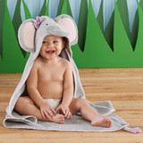 """""""Splish Splash Elephant Bath"""" Spa Hooded Towel  Your freshly bathed little cutie may be as wrinkly as a baby elephant after the pool or bath time, but Baby Aspen's lush spa towel will keep her warm and dry. From floppy, over-sized ears to tiny tail, this adorable towel with an earnest elephant hood wraps baby up in snuggly softness and is sure make a splash at the watering hole.  Features and facts:  Grey terry towel with pink chevron trim features an elephant hood with 3-D trunk, embroidered black eyes, pink chevron print 3-D elephant ears and darling purple bow; bottom of towel features 3-D elephant tail with purple tip Machine-washable Size 0-9 months Hooded towel measures 30"""" h x 30"""" w Towel is presented wrapped with decorative jungle-inspired band"""