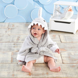 """""""Let The Fin Begin"""" Gray Shark Robe (Personalization Available)  Add a little under the sea fun to bath time with this adorable shark themed gift. Our """"Let The Fin Begin"""" Gray Shark Robe is made of soft gray terry cotton and features so many fun shark elements that we don't know where to begin - ferociously adorable teeth, a fin, and of course, a tail with the option to personalize it with baby's name or initials!  Features and facts:  Soft terry cloth spa robe features a gray shark's tail on the bottom, a gray fin on the hood and white terry teeth along the rim of the hood, along with two black eyes embroidered on the hood. Robe is machine washable, 100% cotton terry exclusive of decoration Appropriate for ages 0-9 months Measures 25"""" w x 0.78"""" d x 26"""" h Personalization available, up to 10 characters; personalization colors include black, white, navy, gray, fuschia, light blue, light pink, purple, red, silver and gold  Please note: All personalized items require 5 to 7 business days for processing. If item has personalized tags and stickers, these arrive unattached and require assembly."""