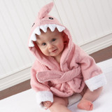 """""""Let the Fin Begin"""" Pink Shark Robe (0-9m) (Personalization Available)  A newborn girl in a pink terry robe that looks like a shark? Why not? Did you know sharks are strong, healthy creatures? No other living thing can take better care of itself than a shark can! Start her off with some essential (and adorable!) inspiration.  Features and facts:  Pink terry robe with white cuffs, two terry ties in front, a hood with smiling, white shark's teeth, appliqued black eyes and a dorsal fin accent Bottom of robe resembles a shark's tail Sharks can be personalized with baby's name for an additional cost Machine-wash and dry (low) Size 0-9 months  Please note: All personalized items require 5 to 7 business days for processing. If item has personalized tags and stickers, these arrive unattached and require assembly."""
