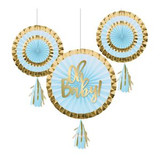 """Oh Baby Blue and Gold Foil Paper Fans with Tassels  Decorate your baby shower in style with help from our Oh Baby Blue and Gold Foil Paper Fans with Tassels. This decoration makes a statement with three included baby blue and metallic gold paper fans: one 12"""" fan with """"Oh Baby"""" lettering, and two 8"""" accent fans. All of the fans feature baby blue and metallic gold tassels hanging from their bottoms. Hang the ensemble of fans near the gift or cake table to make a statement at the celebration.  3 Oh Baby Blue and Gold Foil Paper Fans with Tassels/Pkg"""
