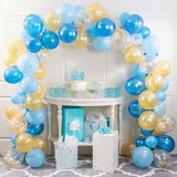 """Blue and Gold Balloon Arch Kits  Make a grand statement at your next celebration with help from our Blue and Gold Balloon Arch Kit. This 112-piece kit includes everything you need to build your own balloon arch at your party, including 110 12-inch latex balloons, one 16-foot plastic arch strip, and one 10-foot curling ribbon. This balloon arch kit includes balloons that are blue, gold, and clear filled with gold confetti, a color combination that's ideal for baby showers, birthday parties, and more. Choose the perfect spot to display your fabulous arch, whether above a cake or gift table or in an entryway. Select our Blue and Gold Balloon Arch Kit and start planning your festive gathering!  110-12"""" latex balloons, One-16' plastic arch strip, One-10' curling ribbon/Pkg"""
