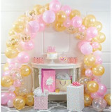 """Pink and Gold Balloon Arch Kit  Your next celebration will be fit for a princess when you select our Pink and Gold Balloon Arch Kit. This 112-piece kit includes everything you need to build your own festive balloon arch, including 110 12-inch latex balloons, one 16-foot plastic arch strip, and one 10-foot curling ribbon. The balloons in this kit include colors of pink, gold, and clear filled with gold confetti. This feminine color combination is perfect for baby showers, birthday parties, and more. There are many places you can choose to display your arch, from entryways to gift tables, cake tables, and more. Grab our Pink and Gold Balloon Arch Kit and start planning your festive gathering!  110 - 12"""" latex balloons, One - 16' plastic arch strip, One - 10' curling ribbon"""