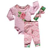 AnnLoren Baby Girls Layette Pink Arabesque Floral Onesie Pants Headband 3pc Gift Set Clothing Sizes 3M - 18M