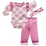 AnnLoren Baby Girls Layette Pink Polka Dot Onesie Pants Headband 3pc Gift Set Clothing Sizes 3M - 18M