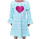 AL Limited Girls Boutique Blue & Pink Heart Soft Cotton Long Sleeve Dress