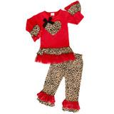 AL Limited Girls Valentine's Day Leopard Heart Long Sleeve Tunic & Ruffle Pants Set