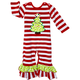 Baby Girls Boutique Happy Christmas Tree Red Striped Romper  Red & White Stripe Knit Holiday Romper One Piece with Green Spiral Christmas Tree appliqué and ruffles on legs and sleeves.  Snap closures on back of neckline and inseam.  97% Cotton/3% Spandex stretch.  Machine washable.