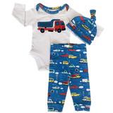 AnnLoren Baby Boys Layette Cars Trucks Long Sleeve Onesie Pants Cap 3pc Gift Set