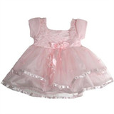 Rhinestone Baby Girl Pink Dress (Large)  Embellished bodice on a beautiful Pink party dress.  Bodice pattern have plain rhinestones.  Beautiful skirt has Rose applique and rhinestones.  Comes with Pink Headband