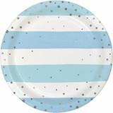 "Blue/Silver Celebration Dessert Plates - 7"""
