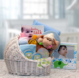 Welcome Baby Bassinet New Baby Basket-Yellow/Teal